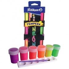 Pelikan Tempera Neon Set x 6 C/Pincel Colores Surtidos