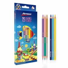 Kit 12 Lápices 15 Colores Artesco + sacapuntas