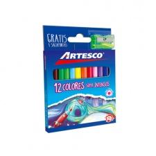 Lápices de Colores Artesco 4mm trinagulares 12 Cortos